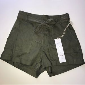 LUMIERE Green high waist cargo shorts